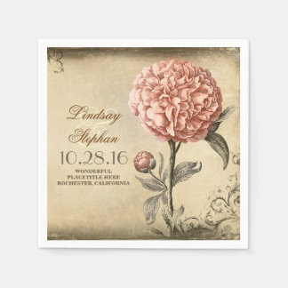 vintage wedding napkins with pink peony blossom paper napkins