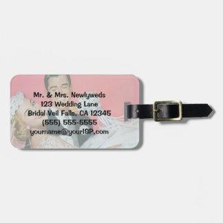 Vintage Wedding Newlyweds, Bride & Groom Honeymoon Luggage Tag