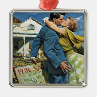 Vintage Wedding, Newlyweds Buy First House Metal Ornament
