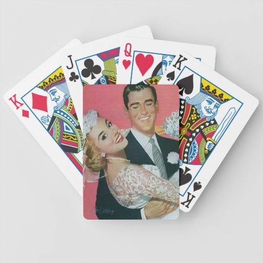 Vintage Wedding Newlyweds, Groom Carrying Bride Bicycle Playing Cards