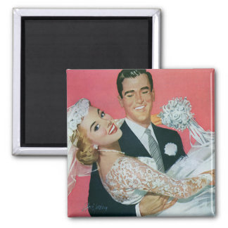 Vintage Wedding Newlyweds, Groom Carrying Bride Square Magnet