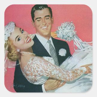 Vintage Wedding Newlyweds, Groom Carrying Bride Square Sticker