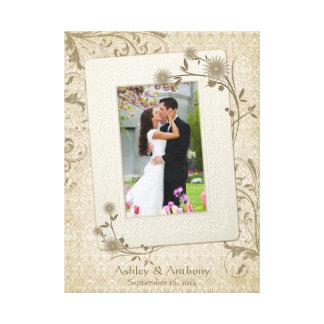 Vintage Wedding Photo Template Canvas Picture