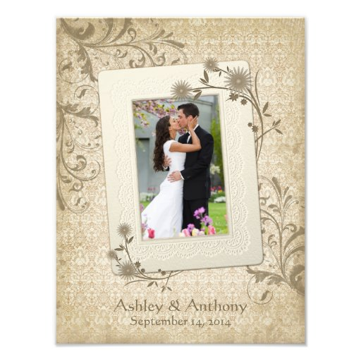 Vintage Wedding Photo Template Photographic Print