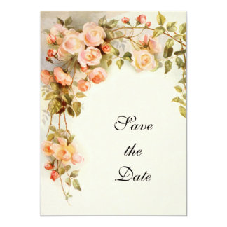 Vintage Wedding, Pink Rose Flowers, Save the Date 5x7 Paper Invitation Card