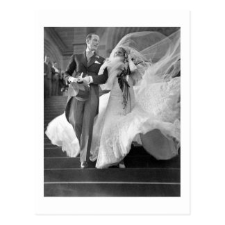 Vintage wedding postcard