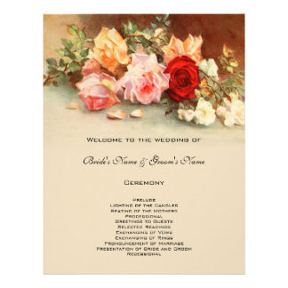 Vintage Wedding Program Antique Rose Flower Floral