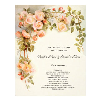 Vintage Wedding Program, Pink Rose Flowers Floral Flyer