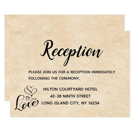 Vintage Wedding Reception Brown Love Heart Grunge Card