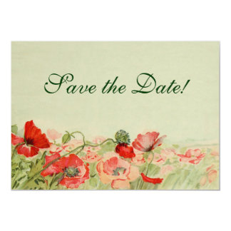 Vintage Wedding, Red Poppies Flowers Save the Date Card