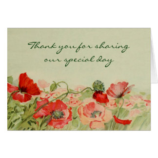 Vintage Wedding Red Poppy Flower Floral Thank You Card
