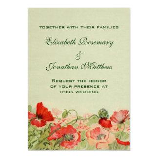 Vintage Wedding, Red Poppy Flowers Floral Meadow Card