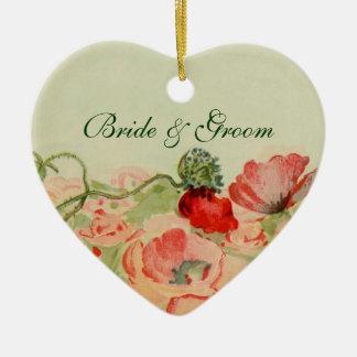 Vintage Wedding, Red Poppy Flowers Floral Meadow Ceramic Ornament