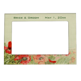 Vintage Wedding, Red Poppy Flowers Floral Meadow Magnetic Picture Frame