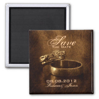 vintage wedding rings rustic wedding save the date square magnet