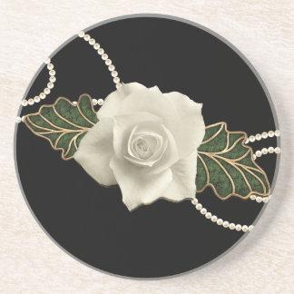Vintage Wedding Rose Beverage Coasters