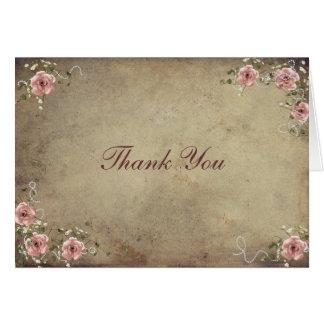 Vintage Wedding Roses Thank You Card