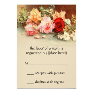 Vintage Wedding RSVP, Antique Roses Flowers Floral Card