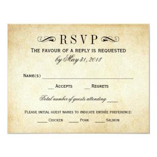"Vintage Wedding RSVP Cards | Elegant Flourish 4.25"" X 5.5"" Invitation Card"