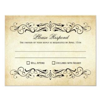 "Vintage Wedding RSVP Postcards | Elegant Flourish 4.25"" X 5.5"" Invitation Card"