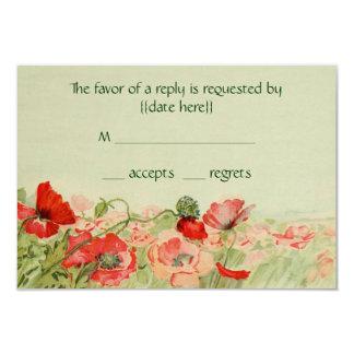 Vintage Wedding RSVP Response, Red Poppy Flowers Card