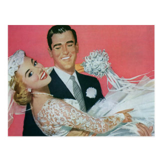 Vintage Wedding Save the Date! Happy Newlyweds Postcard