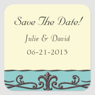 Vintage Wedding Save The Date Square Sticker