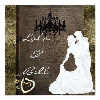 "Vintage Wedding STORYBOOK Invitation 5.25"" Square Invitation Card"