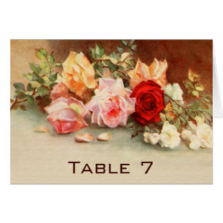 Vintage Wedding Table Number Antique Roses Flowers Card