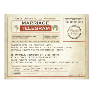 vintage WEDDING telegrams Card