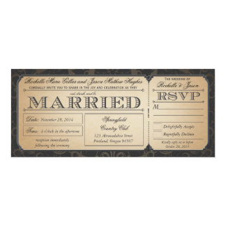 """Vintage Wedding Ticket with RSVP collection III 4"""" X 9.25"""" Invitation Card"""