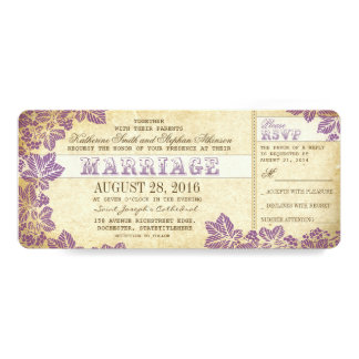 vintage wedding tickets with plum flourishes card