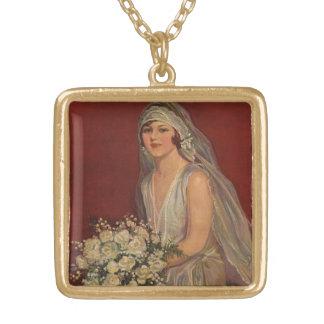 Vintage Wedding, Victorian Bride Bridal Portrait Gold Plated Necklace