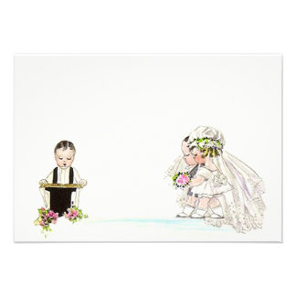 Vintage Wedding Vows Bride Groom Blank 3 5 x5 Announcement