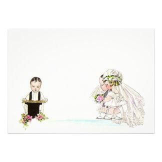 Vintage Wedding Vows Bride Groom Blank Invitation