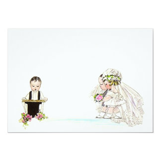 "Vintage Wedding Vows Bride Groom Blank Invitation 5"" X 7"" Invitation Card"