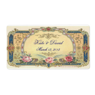 Vintage Wedding Wine, Water Bottle Shipping Label