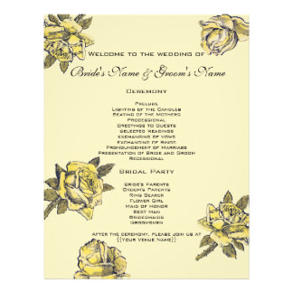 Vintage Wedding, Yellow Antique Garden Rose Wreath Flyer