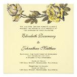 Vintage Wedding, Yellow Antique Garden Rose Wreath Personalized Invites