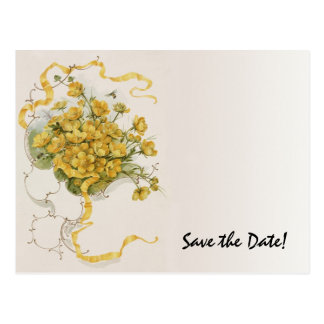Vintage Wedding Yellow Flower Floral Save the Date Postcard
