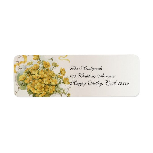 Vintage Wedding, Yellow Flowers Floral Bees Meadow Return Address Label