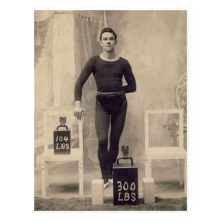 Vintage Weight Lifter Postcard