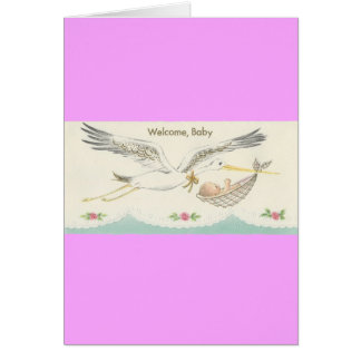 """Vintage """"Welcome, Baby"""" with Stork Card"""