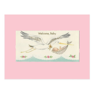 """Vintage """"Welcome, Baby"""" with Stork Postcard"""