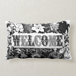 vintage welcome guest pillow cushion black_white