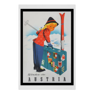 Vintage Welcome in Austria Travel ski Poster