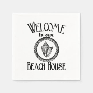 Vintage welcome to the beach house party napkins