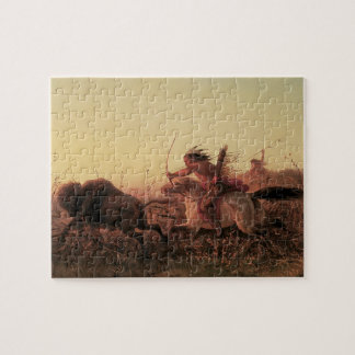 Vintage West, Indian Buffalo Hunt by Charles Wimar Jigsaw Puzzle