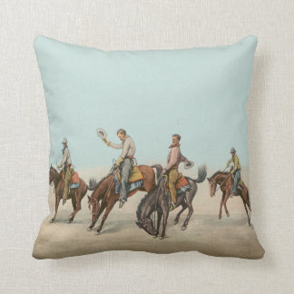 Vintage Western 4 Cowboys On Bucking Horses Throw Pillow