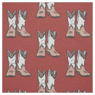 Vintage Western Boots Pattern Fabric